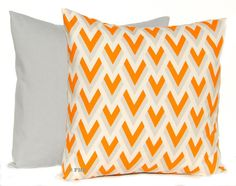 Decorative Throw Pillow Covers Orange and Gray by FestiveHomeDecor, $38.00