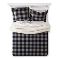Barry Check Print Micro Mink with Sherpa Reverse Comforter Set - 3pc