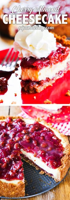 Cherry Almond Cheesecake | Saturated with almond flavoring and delicious tart cherries, this is the yummiest cherry cheesecake you'll ever make! Be prepared to blow people's socks off. #cheesecake #desserts #cherrycheesecake