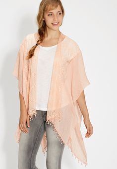 lacy scarf wrap in peach frappe (original price, $24.00) available at #Maurices