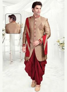 Beige brocade groom's wear Indian dhoti sherwani with khes