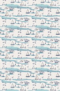 Seashore by Clarke & Clarke - Blue - Fabric : Wallpaper Direct