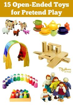 Children begin to understand the world around them through movement and play. They need play materials that are open-ended enough to meet their needs with each new imagining. These 15 open-ended toys for pretend play provide the perfect solution.