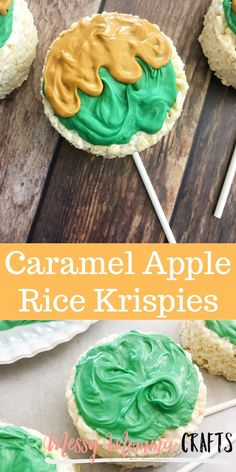Caramel Apple Rice Krispie Treats are the perfect fall treat and they are super easy to make! Fun Desserts, Delicious Desserts, Dessert Recipes, Rice Krispie Treats, Rice Krispies, Candy Recipes, Fall Recipes, How To Melt Caramel, Fall Snacks