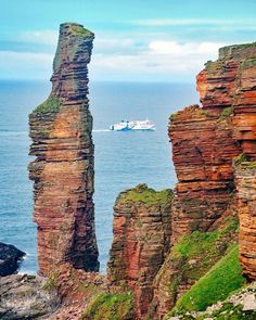 One of our shots that best represent Orkney featuring the Old Man of Hoy and the Northlink ferry Hamnavoe which connects mainland Scotland (Scrabster) to mainland Orkney (Stromness) Scotland Uk, Scotland Travel, Outlander, Places To Travel, Places To See, Places Around The World, Around The Worlds, Orkney Islands, England