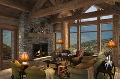 Cosy Lounge with fire place and great views of the mountains! Mountain Living, Mountain Homes, Cabin Interiors, Rustic Interiors, Cosy Lounge, Rustic French Country, House Rooms, Living Rooms, Interior And Exterior