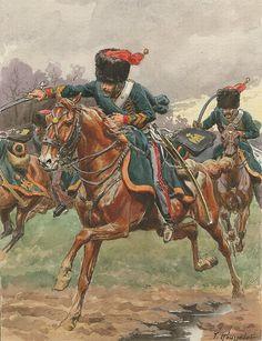 Chasseurs à Cheval de la Garde Impériale, Campagne de France, 1814 by Rousselot
