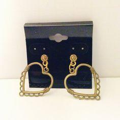 pierced heart earring brass colored jewelry by JeriAielloartstore
