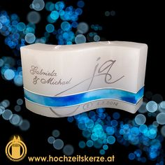 Hochzeitskerze blau Silber Welle Michael J, Dog Bowls, Wedding, Wave, Candles, Homemade, Silver, Blue, Gifts