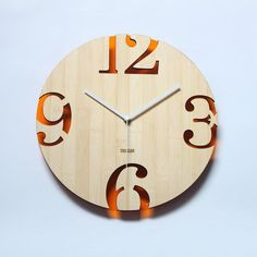 Retro Orange Bamboo Wall Clock -  Numeric Cutter: