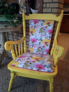 RESERVED Vibrant Yellow Funky Floral Rocker by GreenThumbEtc