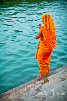Indian people prays his gods always near the water.