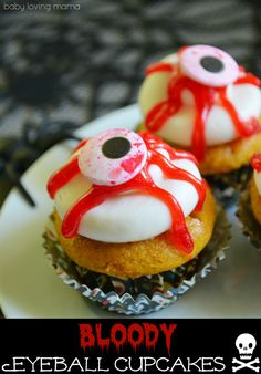 Make these easy bloody eyeball Halloween cupcakes with Wilton products. These mini-cupcakes are simple to create and perfect for celebrating Halloween!