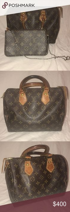 Authentic Louis Vuitton Speedy 25 Classic Speedy 25. Authentic showing Wear from use. Fully functional. Zipper runs smooth. Date code is VI 0962. Made in France. Free with purchase: a little fashion pochette, not a name brand, just stylish. It comes with a chain strap. Zipper is hard. Louis Vuitton Bags Satchels