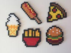 Fast Food: Hamburger, Fries, Pizza, Corn Dog, Ice Cream Perler Bead