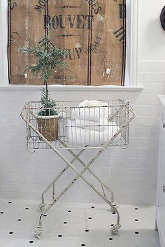 SHABBY FRENCH CHIC Rolling WIRE LAUNDRY BASKET on Wheels Metal Hamper Ivory 0