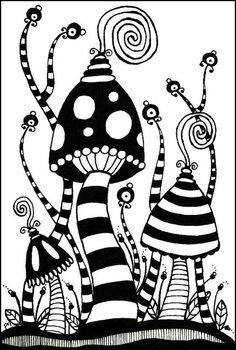 Zentangle Postcard Trade 5 Penny's Zentangle Postcard - I like Tangle Doodle, Tangle Art, Zen Doodle, Doodle Art, Zentangle Drawings, Doodles Zentangles, Doodle Drawings, Mushroom Drawing, Mushroom Art