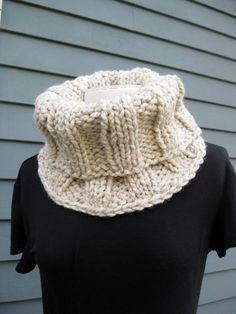 Wool Cowl  Ivory Tweed by SimpleKnitShop on Etsy