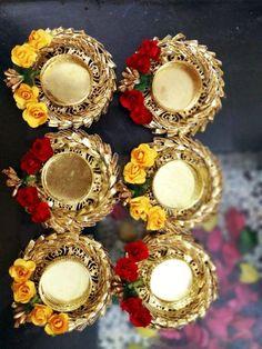 Diwali Candle Holders, Diwali Candles, Candle Holder Decor, Tealight Candle Holders, Diya Decoration Ideas, Diwali Decoration Items, Diwali Decorations At Home, Wedding Decoration, Diwali Craft