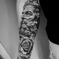 a look at some black and grey tattoos, rose tattoo, religious tattoos, greek statue tattoos, sleeve tattoos and skull tattoos. Zeus Tattoo, Poseidon Tattoo, Statue Tattoo, Lil B Tattoo, Hercules Tattoo, Tattoo Hand, Tattoo Small, God Tattoos, Skull Tattoos