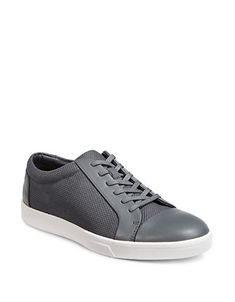 CALVIN KLEIN CALVIN KLEIN MENS IGOR LOW-TOP SNEAKERS-GREY. #calvinklein #shoes # Calvin Klein Men, Up Styles, Casual Looks, Lace Up, Mens Fashion, Grey, Sneakers, Leather, Top