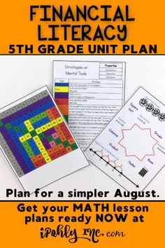 #5thgrade teachers, you have all summer to get ready for next year!  #Classroom setup, #lessonplanning, #organization... Let me take something HUGE off your plate and plan your math class! This #FinancialLiteracy unit plan includes #worksheets, #games, #stations, #activities, #centers and more. Standards and target goals are even listed for each unit to save you even more time!  Check out ipohlyinc.com for more amazing #guidedmath lessons!  #taxes #income #budget #credit #debit