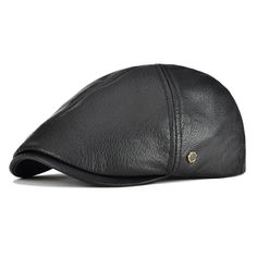 94d6176e5a322 Lambskin Leather IVY Caps Classic IVY Hat Cap 6 Pannel Cabbie Beret Hat -  Black -