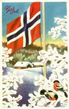 ️Vintage God Jul Christmas postcard... Julekort by Schumann Mittet & Co brukt c1954