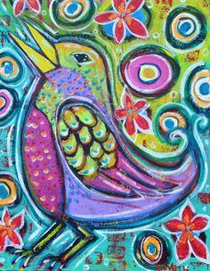 Items similar to Joyful Noise Folk Art Singing Bird Print on Etsy Joyful Noise, Art Journal Inspiration, Bird Prints, Bird Art, Bunt, Folk Art, Original Artwork, Art Projects, Art Photography
