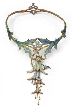 Art Nouveau 18K gold floral enameled necklace with opals, pearls and diamonds - Alphonse Mucha