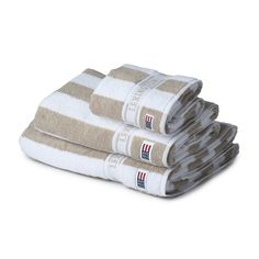Discover the Lexington New Authentic Beige Stripe Towel - Bath Sheet - x at Amara