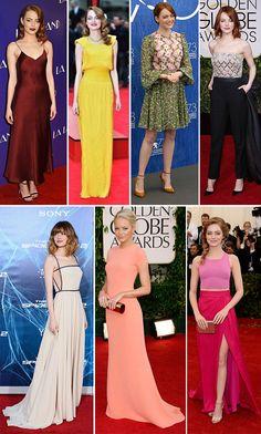 Inspire-se no estilo de Emma Stone e seus vestidos de festa, cheios de cor e estilo