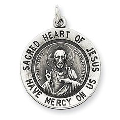 Sterling Silver Sacred Heart Of Jesus Medal Charm - JewelryWeb ** Check out this great product.
