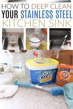 , How to clean a stainless steel sink in minutes with the best tricks for removing. , How to clean a stainless steel sink in minutes with the best tricks for removing rust stains, tarnish; plus the best DIY cleaner for stainless steel; Deep Cleaning Tips, House Cleaning Tips, Diy Cleaning Products, Spring Cleaning, Cleaning Hacks, Cleaning Solutions, Cleaning Carpets, Apartment Cleaning, Cleaning Recipes