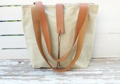 Light Green  Canvas Tote Bag   Leather Double Strap by ottobags, $69.00