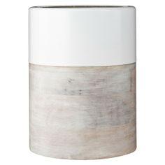 "Nate Berkus™ Wood and Metal Vase - White 7.7"""
