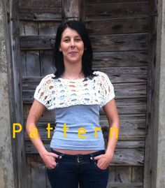 Knitting pattern - White Short Sleeved Shrug/ Woman/ loose knit $5.00 USD