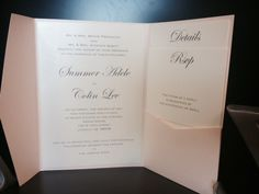 Pockets look so classy! Shimmery light coral pocket with Pearl Linen paper!_A to Z Paperie
