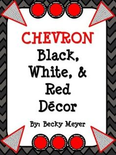 Brighten up your classroom with this crisp, stylish black, red, and white classroom décor in chevron.   Included:  -Table Numbers  -Calendar Months  -2 sets of Calendar days or # for organization of students  -Name Plates  -Pennants  -Book Bin Labels  -Classroom Schedule Pieces  -Blank Labels
