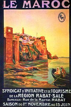 Rabat - Sale Region Tourism , Morocco by R. Retro Poster, Vintage Poster, Vintage Travel Posters, Vintage Postcards, Tourism Poster, Spinosaurus, North Africa, Africa Travel, Design Crafts