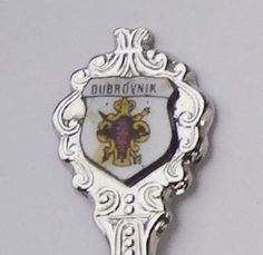 Collector Souvenir Spoon Croatia Dubrovnik Coat of Arms Porcelain Emblem