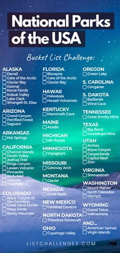 Travel to or throughout the US with this bucket list of United States National Parks. Click the link to see the list or check off all the ones you've already visited.