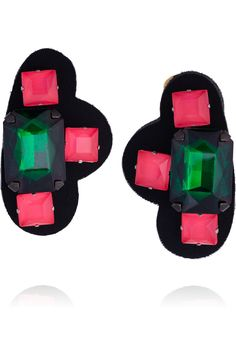 Marni Resin and Acetate Clip Earrings in Pink (black) | Lyst
