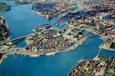 Stockholm - Gamla Stan and Slussen from Air / Roger Wollstadt
