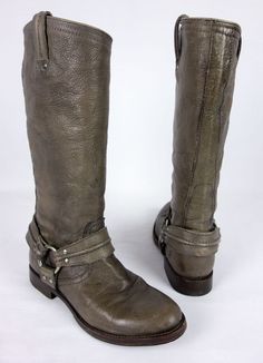 FRYE Maxine Trapunto Harness Boot Brown Size 8.5 B Brown 77952 Gaucho Leather #Frye #FashionMidCalf