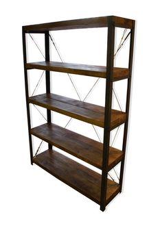 Oak/Steel Double Depth (30cm) Bookcase/Bookshelf Industrial Shelving photo 3