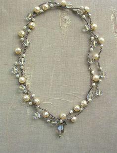 Pearl wrap necklace  Gigi  crochet necklace Boho by 3DivasStudio, $ 52.00