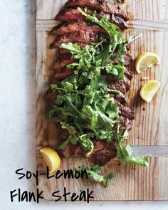 Grilled Soy-Lemon Flank Steak with Arugula recipe. This easy to make marinated grilled steak recipe can easily be made gluten free by using tamari sauce instead of soy sauce. Make this easy adn delicious soy-lemon marinade and marinate the flank steak for Potluck Recipes, Steak Recipes, Cooking Recipes, Healthy Recipes, Dinner Party Recipes, Lemon Recipes, Paleo Snack, Arugula Recipes, Sloppy Joe
