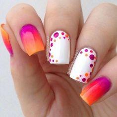 bunte Nägel 5 am besten - ombre nails & nail art gallery by nded - Nail Art Ideas Fancy Nail Art, Dot Nail Art, Polka Dot Nails, Fancy Nails, Diy Nails, Cute Nails, Pretty Nails, Polka Dots, Manicure Ideas
