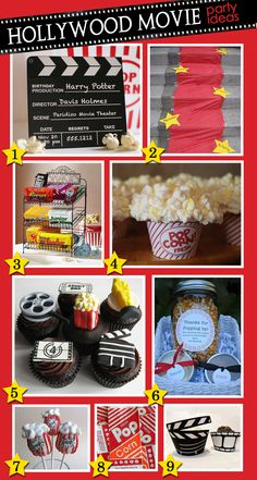 Accent your Hollywood Movie Party with a red carpet, stars with guests' names, and popcorn cake pops. (swankypress.com)